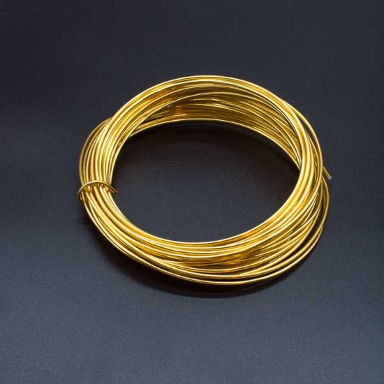 Aluminium Wire – Assorted Colours 2mm X Approx 11.7m – Gold