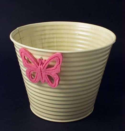 Cream Tin Pot With Butterfly