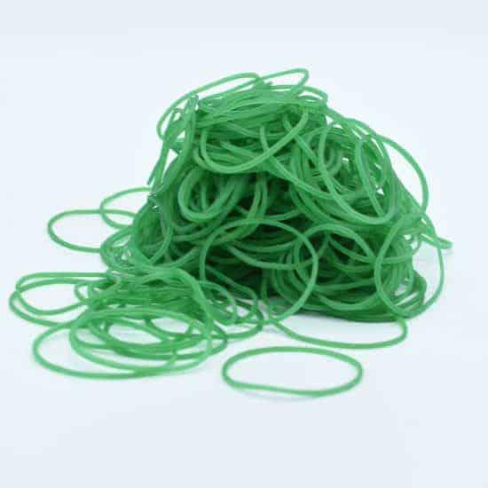 Green Rubber Bands 4.5cm 150g/bag