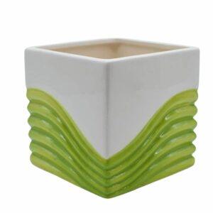 Ceramic Cube - Green & Cream