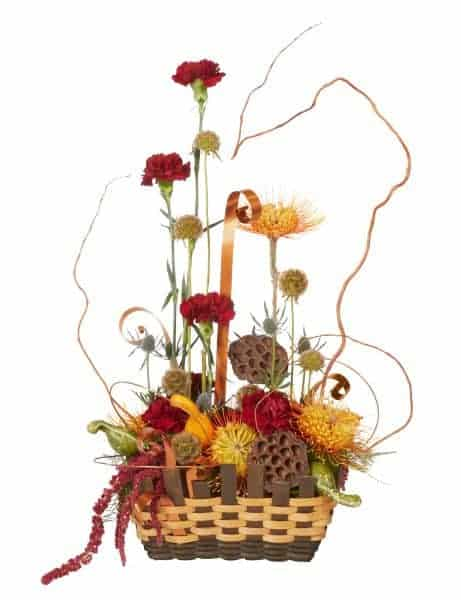 Floral Basket Arrangement With Burgandy & Orange
