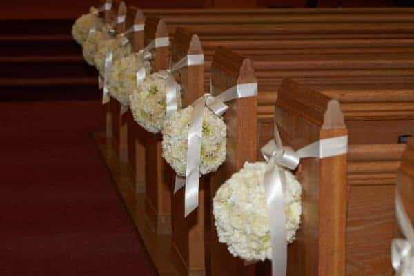 Carnations and Satin Ribbon Floral Pew Marker