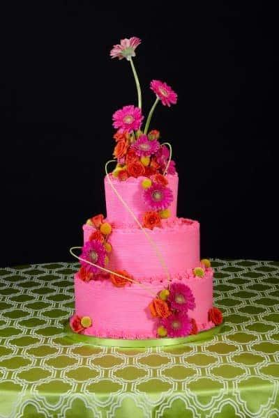 Pink Gerbera Floral Wedding Cake