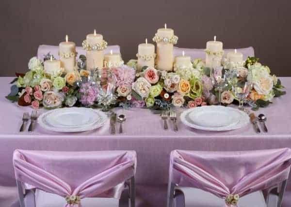 Candles Wedding Floral Centerpiece