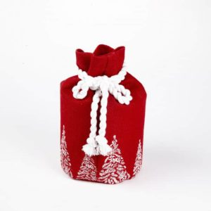 Hessian Santas Sack – Trees – Red/White