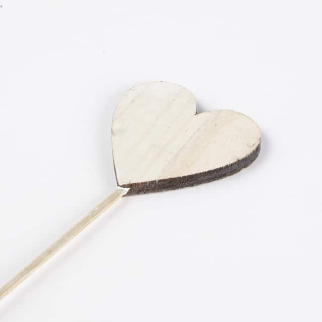 Wooden Heart Pick - Frosted White