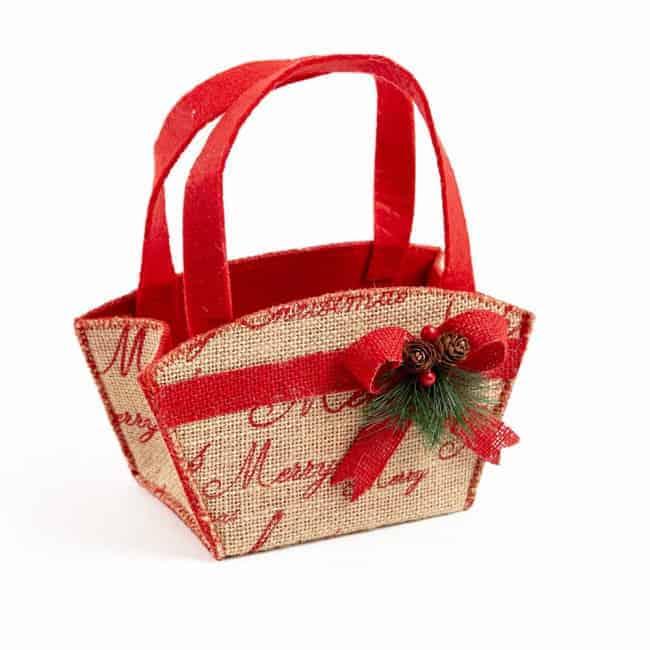 Winter Berry Hessian Bag