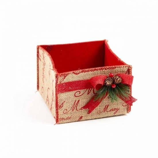 Winter Berry Hessian Square Container - 15.5cm x 17cm x 10.5cm