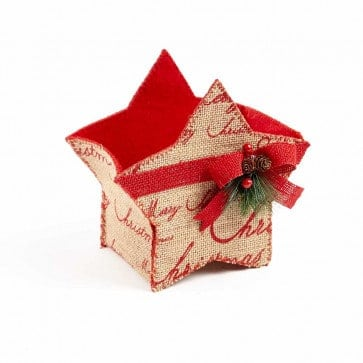 Winter Berry Hessian Star Container - 18.5cm x 13cm x 18cm