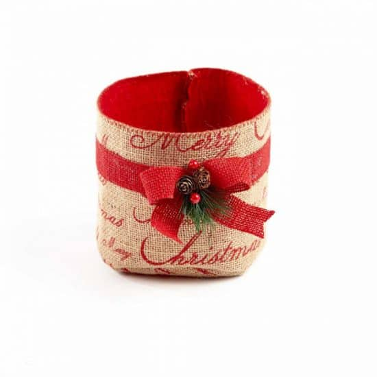 Winter Berry Hessian Round Container - 15cm x 14cm