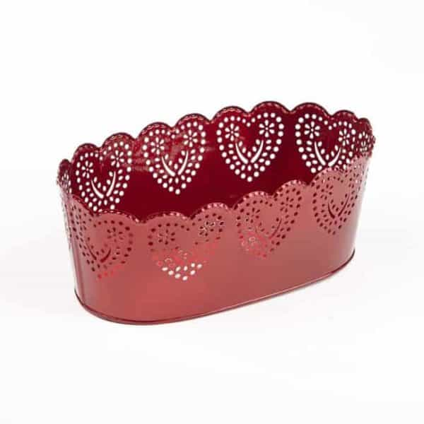 Romance Oval Tin Trough - Red