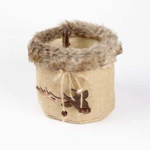 Fur Edge Round Bag with Reindeer Hanger - Natural - 12.5cm x 10cm