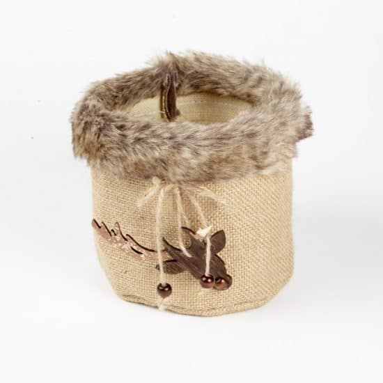 Fur Edge Round Bag With Reindeer Hanger  15.5cm X 14cm