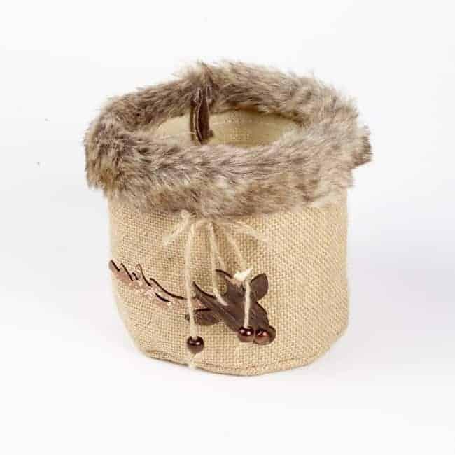 Fur Edge Round Bag with Reindeer Hanger 15.5cm x 14cm