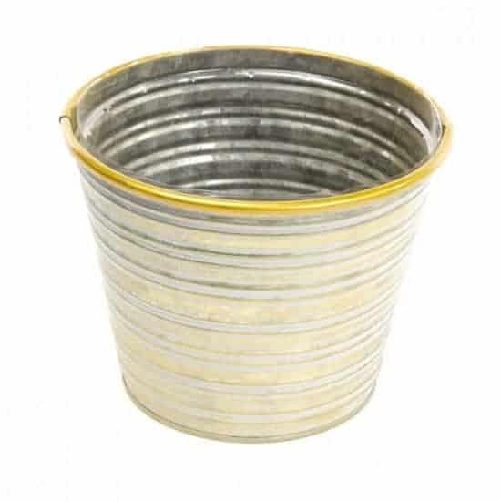 Tin Jorvik Pot – Gold Rim – 15cm Wide X 12cm High