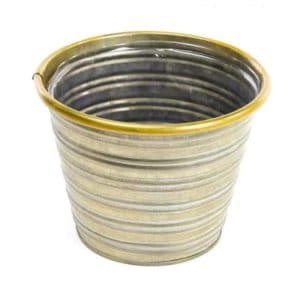 45-01236 Tin Jorvik Pot - Gold Rim - 17cm x 14cm