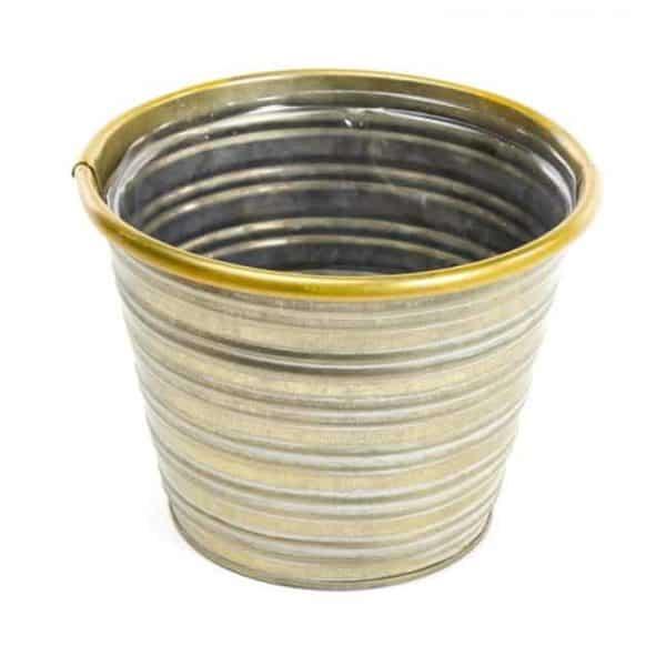 45-01236 Tin Jorvik Pot - Gold Rim - 17cm x 14cm