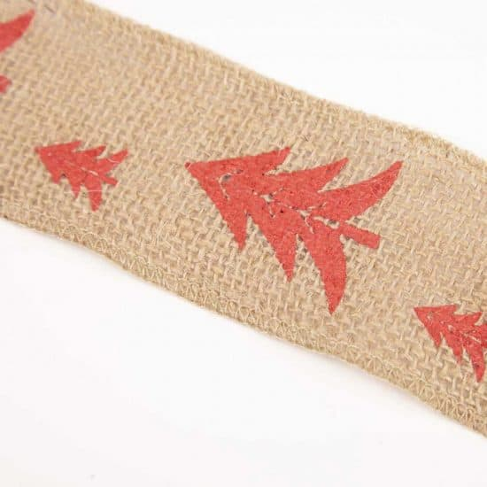 63-00189 Printed Burlap Ribbon - Tree Design - 50mm X 3m (2)
