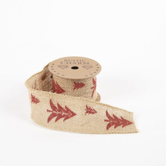 Printed Burlap Ribbon – Tree Design