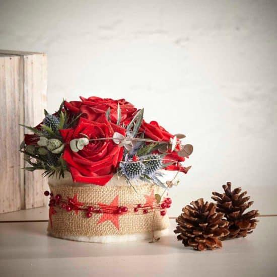 Winter Berry Hessian Round Container - 15cm X 14cm