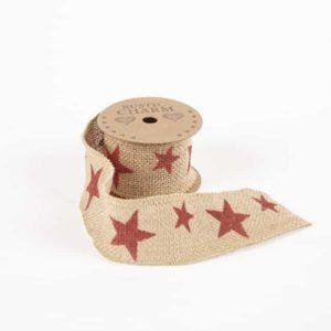 Printed Burlap Ribbon – Star
