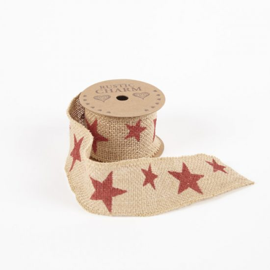 Printed Burlap Ribbon – Star