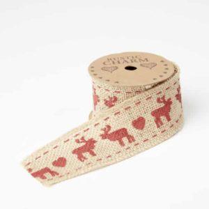 63-00240_small Printed Burlap Ribbon - Moose & Hearts - Red - 50mm x 3m