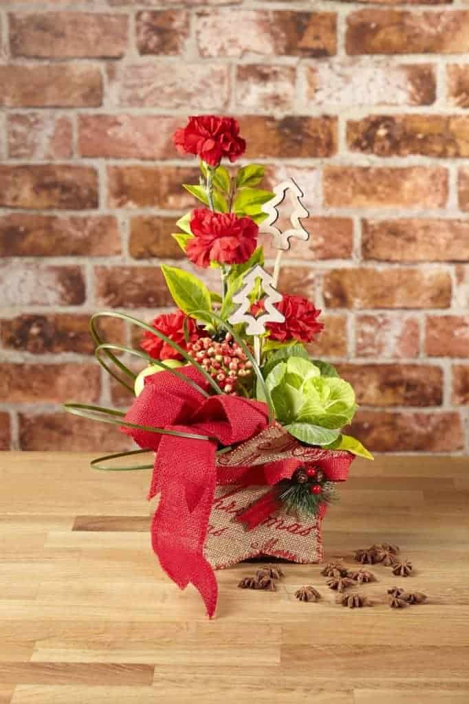 Christmas present using a Winter Berry Hessian Star Container
