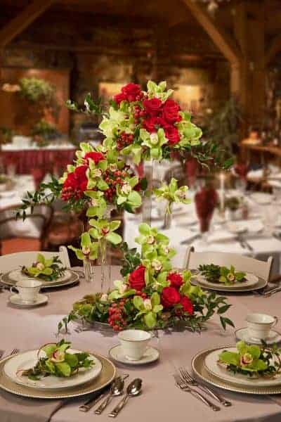 Green Orchid And Red Rose Tiered Floral Centerpiece
