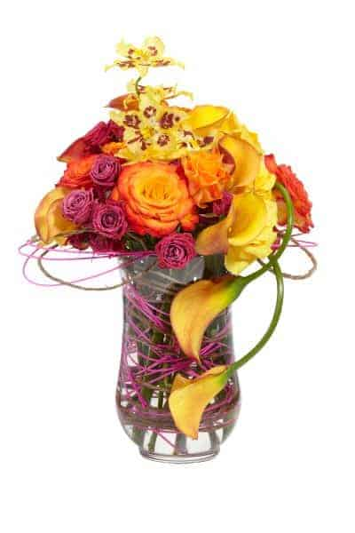 Bright Flower Swoosh Floral Centerpiece