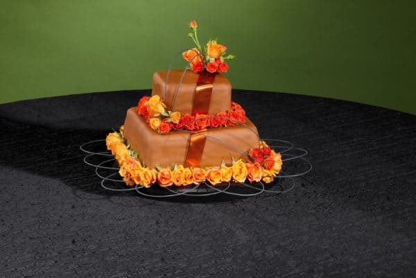 Orange Rose Floral Wedding Cake Design