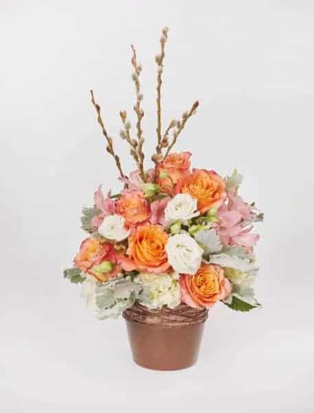 Orange, Willow And Cooper Flower Centerpiece