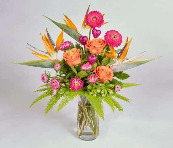 Pink and Orange Cinch Vase Arrangement