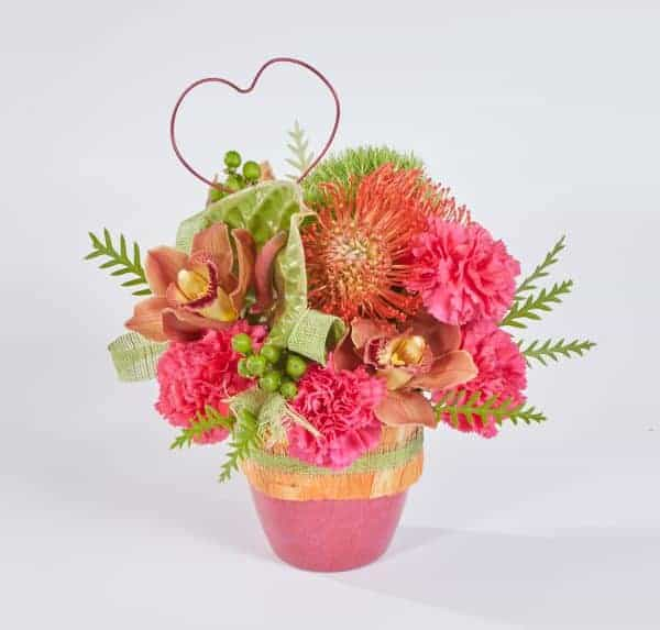 Poppy And Hot Pink Valentine Arrangement