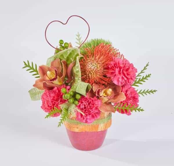 Poppy and Hot Pink Valentine Arrangement