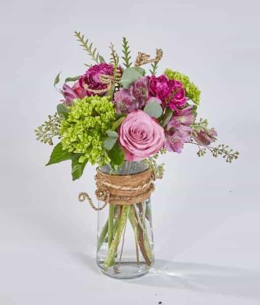 Purple Carnations in Cinch Vase