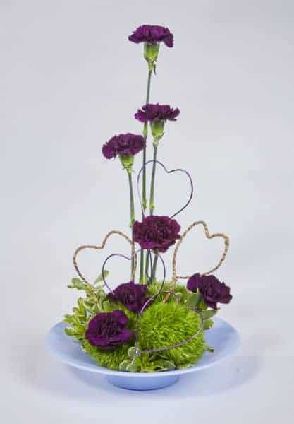 Purple Carnations with Heart Valentine Floral Design