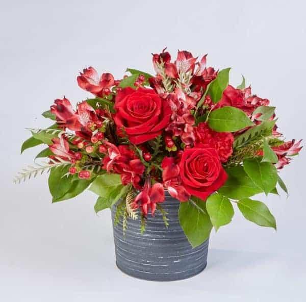 Red Alstromeria and Slate Pot Floral Valentine