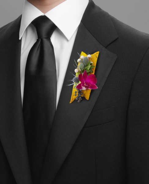 Silver Crystal Boutonniere