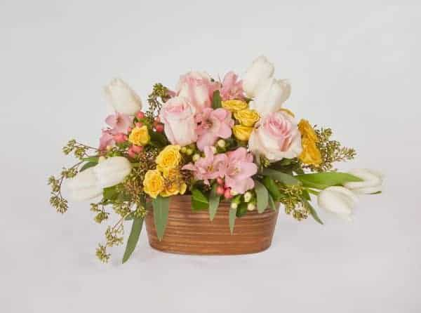 White Tulips and Oval Tin Floral Design