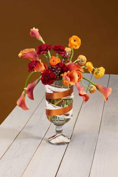 Copper, Carnations and Bark Floral Centerpiece