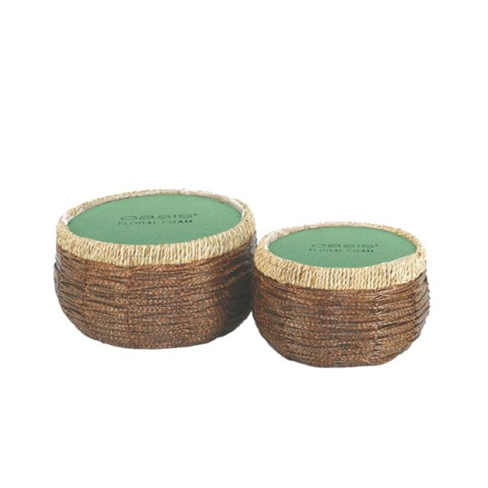 Imitation Rattan Basket White & Dark Brown