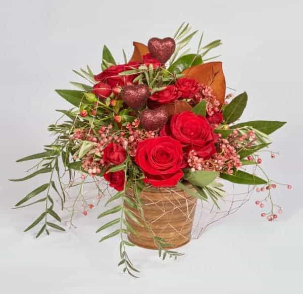 Glitter Hearts Valentine Floral Centerpiece