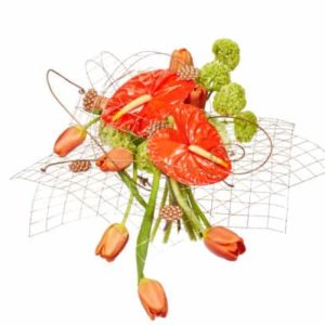 Orange Anthurium Mesh Floral Arrangement / Get Inspired!