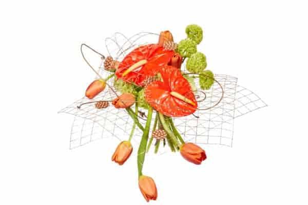 Orange Anthurium Mesh Floral Arrangement