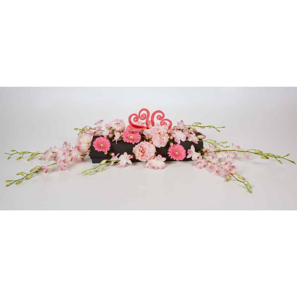 Pink Heart at Midnight Valentine Centerpiece