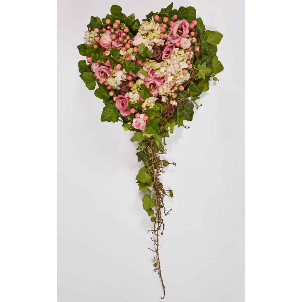 Pink and Ivy Floral Valentine Heart