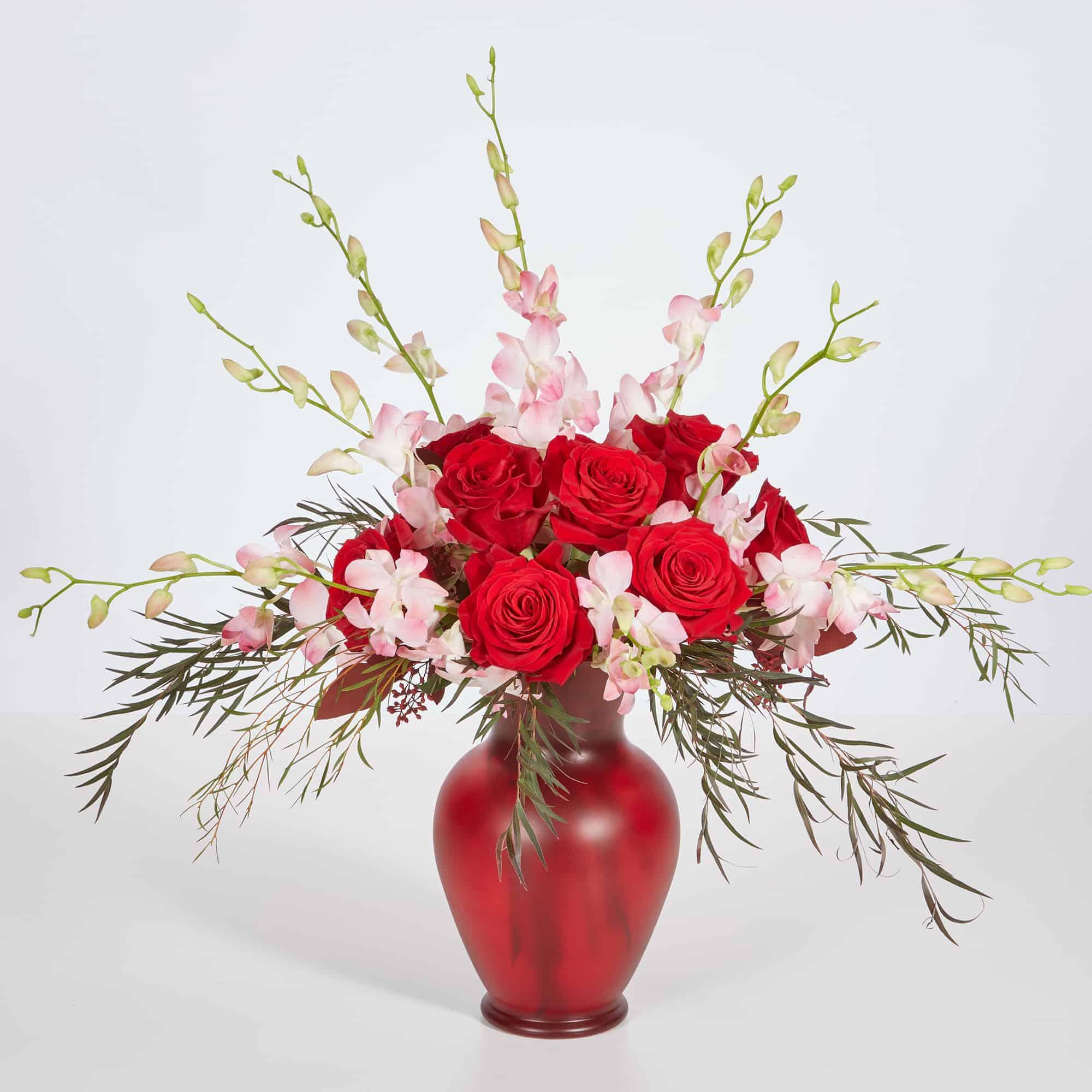 Red Bouquet Vase And Rose Valentine Centerpiece