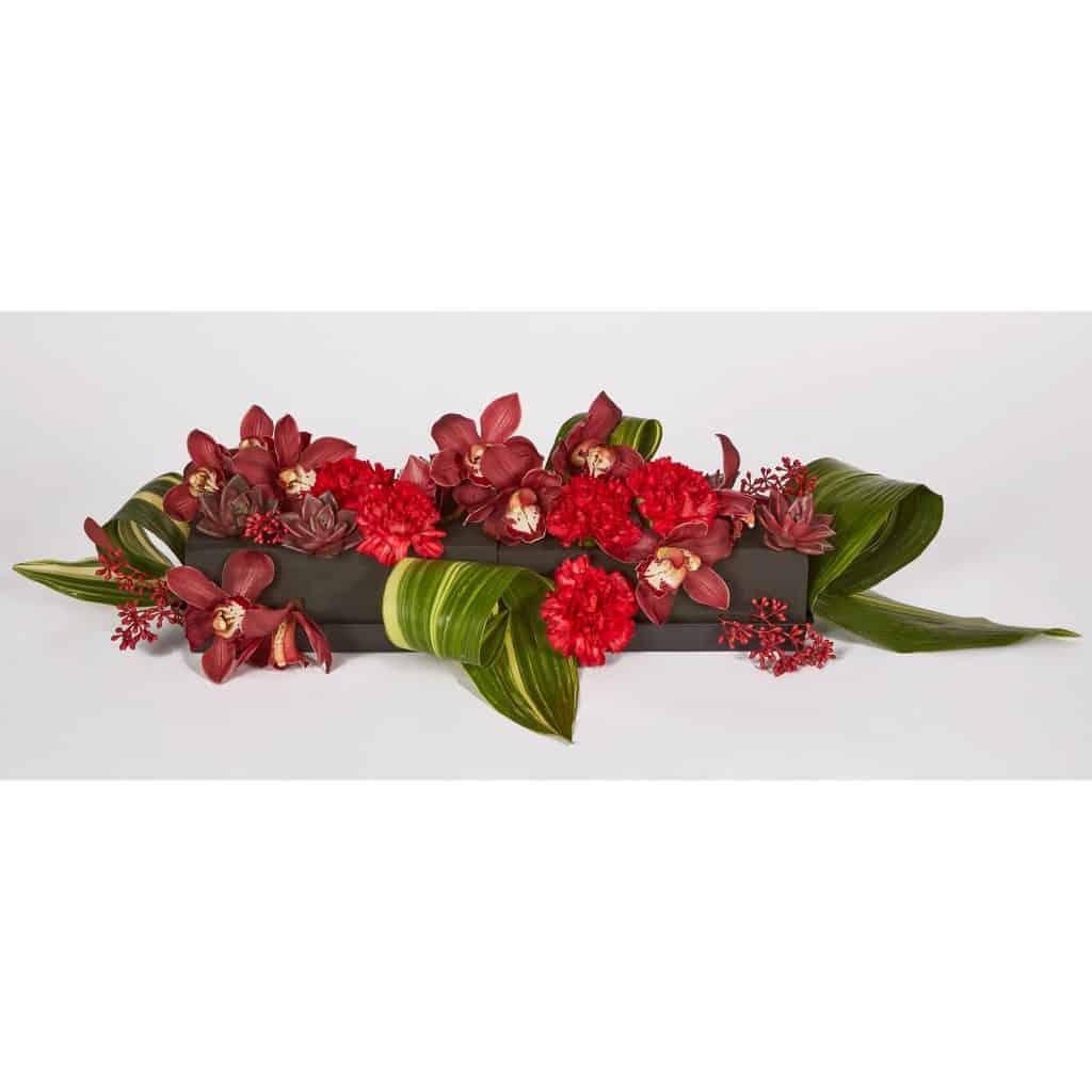 Red Carnations and Midnight Valentine Centerpiece