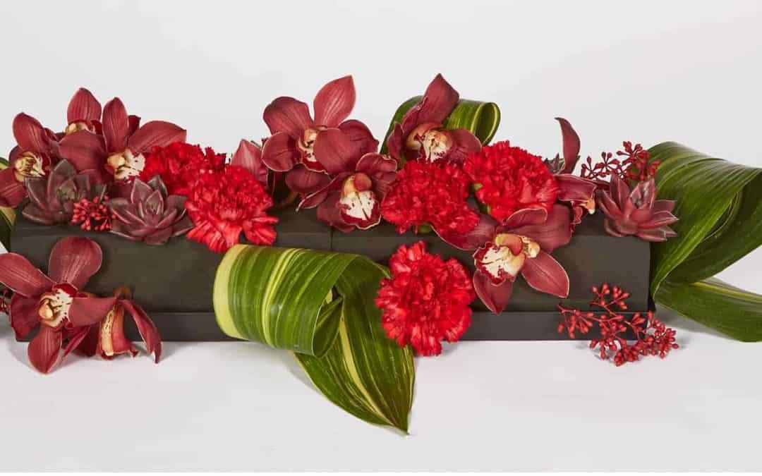 Red Carnations & Midnight Centerpiece